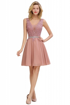 Cute Deep V-neck Short Sexy Sleeveless V-back Dusty Pink Knee length Womens Dress for Cocktail Party_13