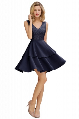 Sexy V-neck V-back Knee Length Homecoming Dresses with Ruffle Skirt | Burgundy, Navy, Pink Dress for Homecoming_3