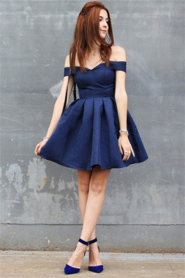 Off The Shoulder Navy Homecoming Dress Cheap | Sexy Cheap Short Hoco Dresses Online_2