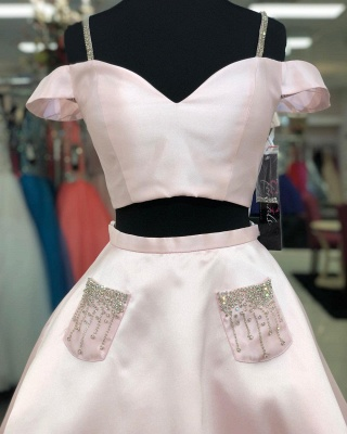 Chic Two Pieces Sweetheart Homecoming Dress | Fantastic Spaghetti Straps Beading Cocktail Dress with Pockets_2
