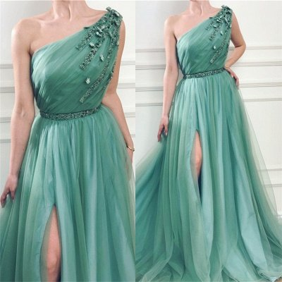 Glamorous One Shoulder Green Tulle Prom Dress with Beading | Sexy Front Slit Long Prom Dress with Beading Sash_3