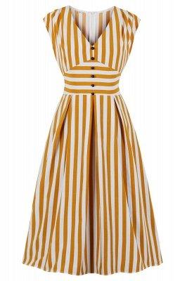 Excellent V-neck Stripes Fashion Beer Dresses   Knee-Length Women's Dresses_2