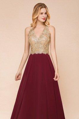 Великолепное бордовое вечернее платье без рукавов с v-образным вырезом | Дешевое Формальное Платье_14
