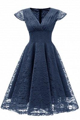Elegante Spitze Vintage Rockabilly Kleid | Schöne V-Ausschnitt Damen Kleider A-Linie_3