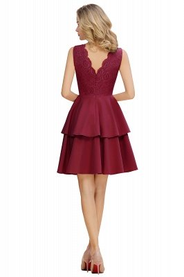 Sexy V-neck V-back Knee Length Homecoming Dresses with Ruffle Skirt | Burgundy, Navy, Pink Dress for Homecoming_12