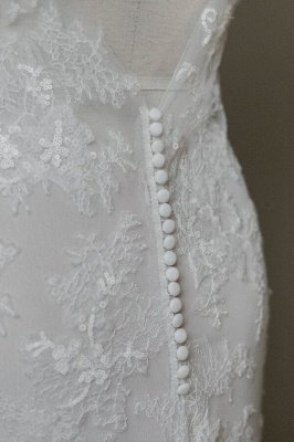 Inexpensive Appliques Mermaid Wedding Dress | Charming V-neck Long Bridal Gowns_7