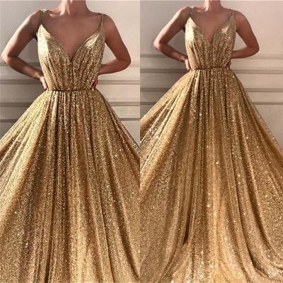 Lentejuelas glamorosas correas de espagueti vestido de fiesta largo | Vestido de fiesta dorado sin mangas con cuello en V brillante_3