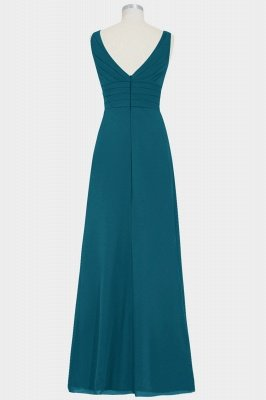 Summer Chiffon A-line Bridesmaid Dress | V-neck Floor Length Maid of honor Dress_3