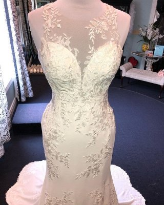 Exquisite Jewel Sleeveless Wedding Dress | Sheath Tulle Lace Open Back Bridal Gown_3