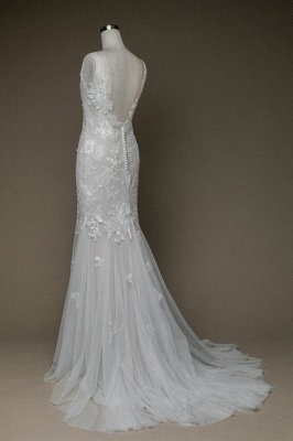 Inexpensive Appliques Mermaid Wedding Dress | Charming V-neck Long Bridal Gowns_3