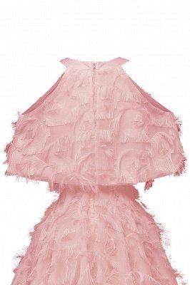 High neck Elegant Crew Neck Artificial Feather Dress Burgundy Princess Midi Dresses_11