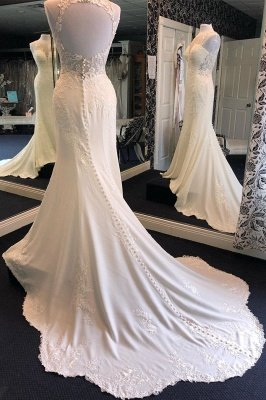 Exquisite Jewel Sleeveless Wedding Dress | Sheath Tulle Lace Open Back Bridal Gown_1