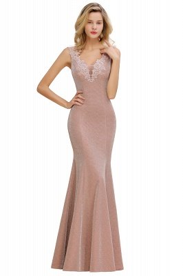 Sparkly Deep V-neck Long Evening Dresses | Elegant Flowers Neck Sleeveless Pink Floor-length Formal Dress_12