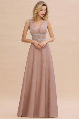 Sparkly Deep V-neck Long Evening Dresses with Shining Belt | Elegant Sleeveless V-back Pink Formal Dress_6