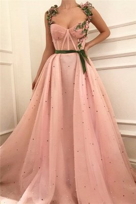 Exquisite Pink Tulle Burgundy Sash Prom Dress with Pearls | Sexy See Through Bodice Sweetheart Long Prom Dress_1