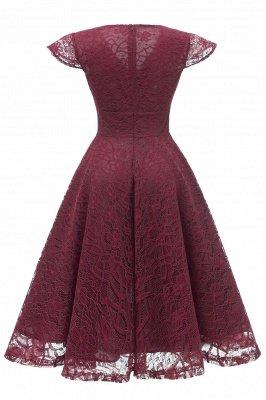 Elegante Spitze Vintage Rockabilly Kleid | Schöne V-Ausschnitt Damen Kleider A-Linie_12