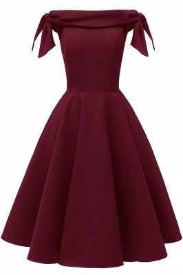 Womens Bateau Burgundy Navy Ruby Vintage Dresses | Retro Princess Short Party Dress_2