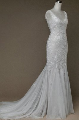Inexpensive Appliques Mermaid Wedding Dress | Charming V-neck Long Bridal Gowns_4