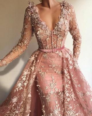 Sexy durchsichtig Tüll rosa langen Ärmeln Abendkleid | Charmante Meerjungfrau mit V-Ausschnitt Applikationen langen Abendkleid_2