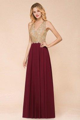 Великолепное бордовое вечернее платье без рукавов с v-образным вырезом | Дешевое Формальное Платье_2