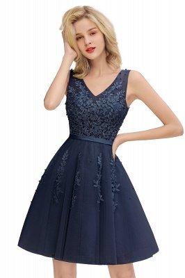 Robes de bal sexy à col en v et à encolure en V sexy avec applications de dentelle | Bourgogne, bleu marine, rose poudré Robe de rentrée_4