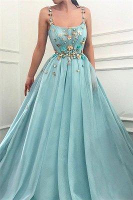 Robe de bal longue sexy sans bretelles spaghetti | Une ligne de perles fleurs robe de bal pas cher_1