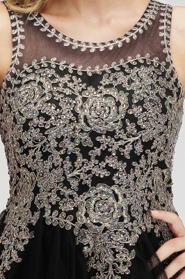 Cute Crew Neck Puffy Homecoming Dresses with Lace Appliques | Beaded Sleeveless Open back Black Teens Dress for Cocktail_9