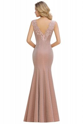 Sparkly Deep V-neck Long Evening Dresses | Elegant Flowers Neck Sleeveless Pink Floor-length Formal Dress_8
