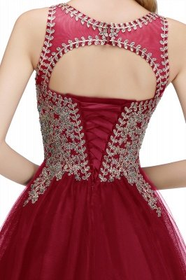 Cute Crew Neck Puffy Homecoming Dresses with Lace Appliques | Beaded Sleeveless Open back Black Teens Dress for Cocktail_28