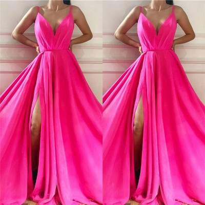 Sexy Spaghetti Straps Sleeveless Long Prom Dress | Affordable V Neck Front Slit Long Pink Prom Dress_2