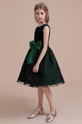 Autumn Knee Length Flower Girl Dress | Lace Velvet A-line Little Girls Pegeant Dress Online_4