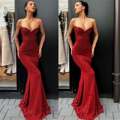 Sexy einfache Rote Pailletten Lange Abendkleider | Günstige Spaghettiträger Abendkleider 2021 BC0920_3