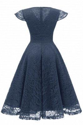 Elegante Spitze Vintage Rockabilly Kleid | Schöne V-Ausschnitt Damen Kleider A-Linie_16