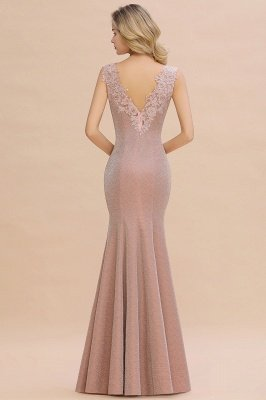 Sparkly Deep V-neck Long Evening Dresses | Elegant Flowers Neck Sleeveless Pink Floor-length Formal Dress_17