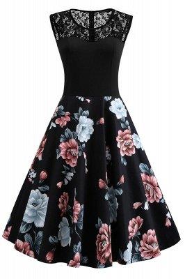 Maravillosos vestidos de encaje floral joya sin mangas de las mujeres | Una línea de vestidos de moda