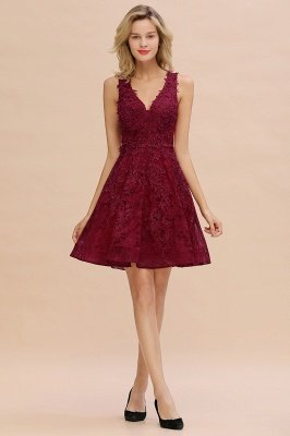 Princess V-neck Knee Length Lace Appliqued Homecoming Dresses | Burgundy Dress for Homecoming_17