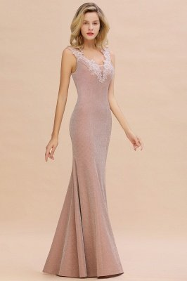 Sparkly Deep V-neck Long Evening Dresses | Elegant Flowers Neck Sleeveless Pink Floor-length Formal Dress_13