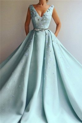 Exquisite Sequins V Neck Sleeveless Prom Dress | Chic Flowers Pearls Long Prom Dress with Beading Sash