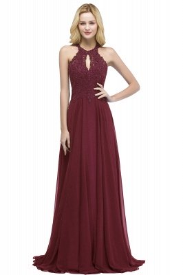 PANSY | A-line Keyhole Neckline Halter Long Beading Prom Dresses_2