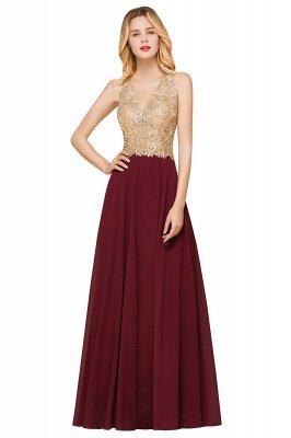 Великолепное бордовое вечернее платье без рукавов с v-образным вырезом | Дешевое Формальное Платье_10