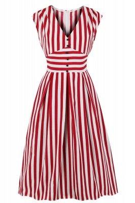 Excellent V-neck Stripes Fashion Beer Dresses | Knee-Length Women's Dresses