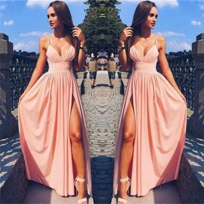 Sexy Pink Evening Dress | Side Slit Deep V-Neck Spaghetti Straps Formal Dresses_3