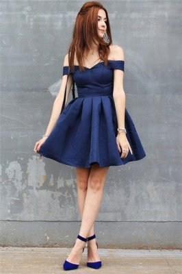 Off The Shoulder Navy Homecoming Dress Cheap | Sexy Cheap Short Hoco Dresses Online