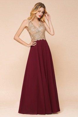 Великолепное бордовое вечернее платье без рукавов с v-образным вырезом | Дешевое Формальное Платье_16