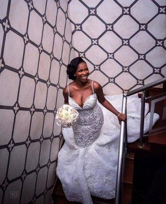 Robes de mariée de luxe en dentelle perlée sirène sweetheart | Appliques spaghetti-sangles robes de mariée pas cher_5