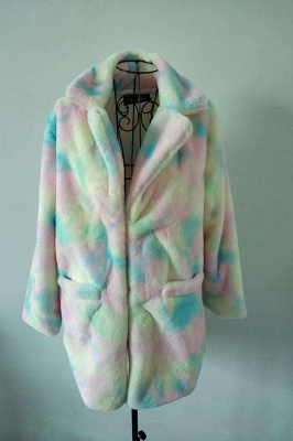 Daily Regular Stand Long Faux Fur Coat| Solid Colored Long Sleeve Faux Fur Yellow / Blue / Fuchsia_1