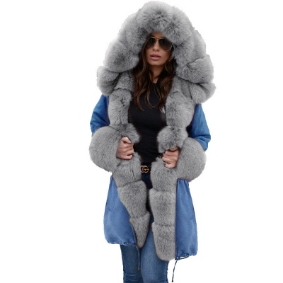 Midnight Blue Hooded Long-length Faux Fur Coat | Women's Solid Color Winter/Fall Jacket_34