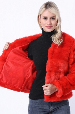 Women's Winter Short Fur Coat |Solid Colored Luxury Long Sleeve Faux Fur Pleated Formal Style Ruby Overcoat_6