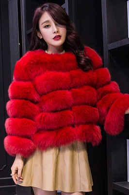 Women's Daily/Party Long Faux Fur Coat | Solid White/Pink/Ruby/Burgundy Colored Round Neck Long Sleeve Faux Fur Overcoat_3