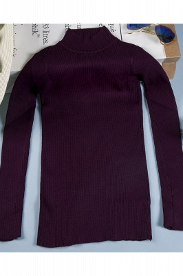 Fitted Top in a fine-knit viscose blend   Long Sleeves Round Neckline Sweater_5